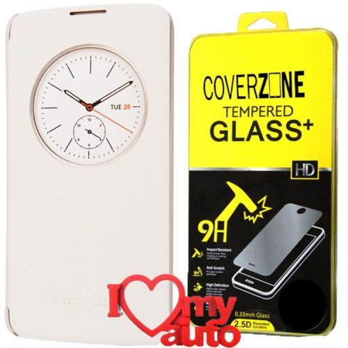 CoverZone Lg K8 Kılıf Quick Flip Cover Beyaz + Kırılmaz Cam + 3d Araç Kokusu