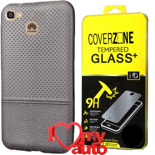 CoverZone Huawei GR3 Kılıf Dot Silikon Gri + Kırılmaz Cam + 3d Araç Kokusu