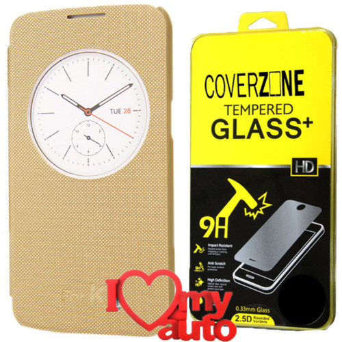 CoverZone Lg K4 Kılıf Quick Flip Cover Gold + Kırılmaz Cam + 3d Araç Kokusu