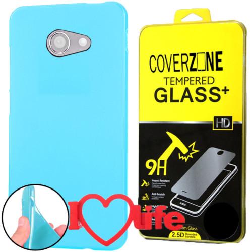 CoverZone Vodafone Smart Ultra 7 Kılıf Silikon Mavi + Kırılmaz Cam + 3d Araç Kokusu
