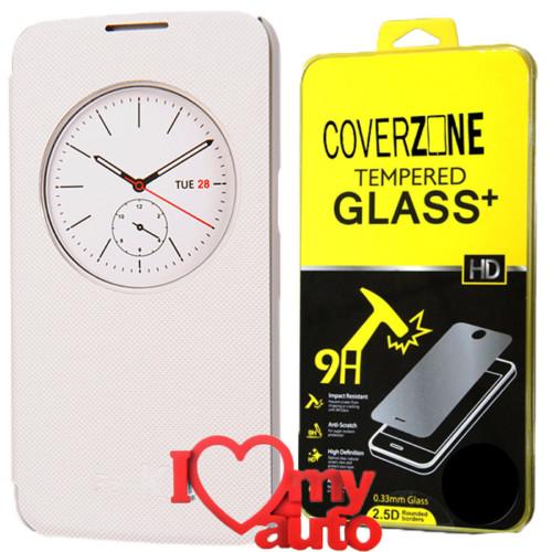 CoverZone Lg K4 Kılıf Quick Flip Cover Beyaz + Kırılmaz Cam + 3d Araç Kokusu