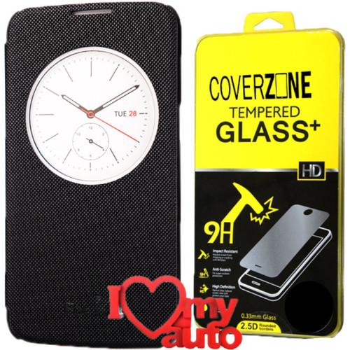 CoverZone Lg K4 Kılıf Quick Flip Cover Siyah + Kırılmaz Cam + 3d Araç Kokusu