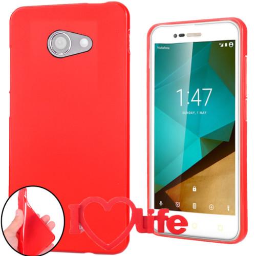 CoverZone Vodafone Smart Ultra 7 Kılıf Silikon Kırmızı + 3d Araç Kokusu
