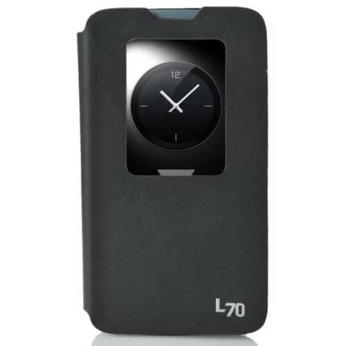 CoverZone LG L70 Kılıf Pencereli Flip Cover Siyah