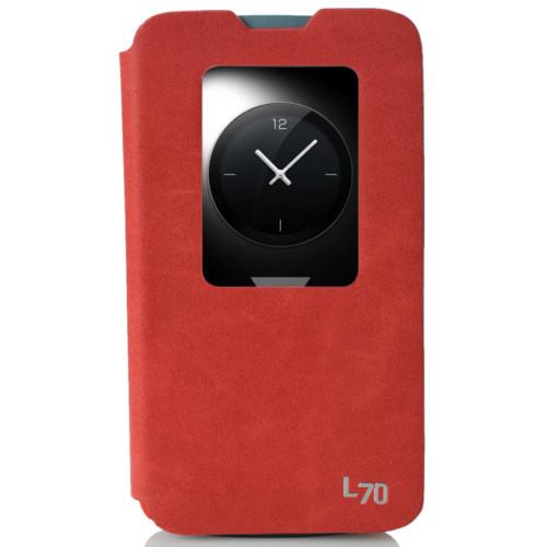 CoverZone LG L70 Kılıf Pencereli Flip Cover Kırmızı