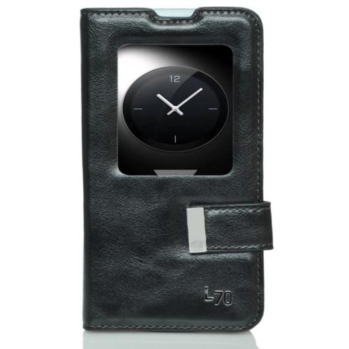 CoverZone LG L70 Kılıf Pencereli Mıknatıs Dilli Siyah