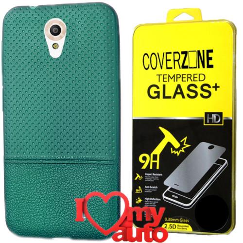CoverZone Vodafone Smart Style 7 Kılıf Yeşil + Kırılmaz Cam + 3d Araç Kokusu