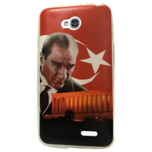 CoverZone LG L70 Kılıf Silikon Resimli Model Atatürk