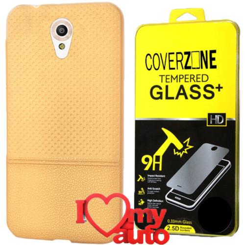 CoverZone Vodafone Smart Style 7 Kılıf Gold + Kırılmaz Cam + 3d Araç Kokusu