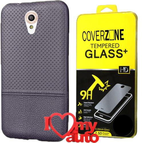 CoverZone Vodafone Smart Style 7 Kılıf Lacivert + Kırılmaz Cam + 3d Araç Kokusu