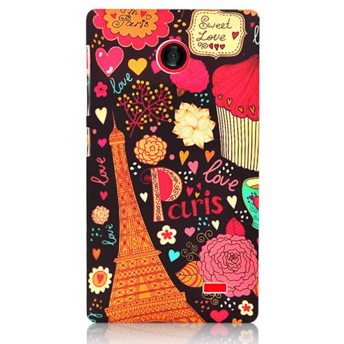 CoverZone Nokia X Kılıf Sert Arka Kapak Paris In Love