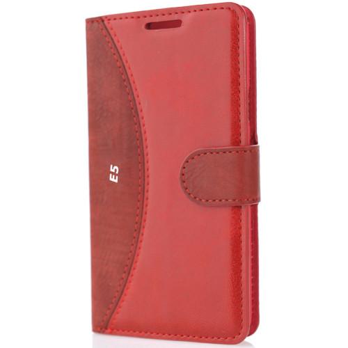 CoverZone Samsung Galaxy E5 Kılıf Delüks Cüzdan Kapaklı Kırmızı