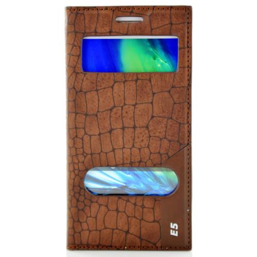CoverZone Samsung Galaxy E5 Kılıf Çift Pencere Flip Rock Kapaklı Kahverengi