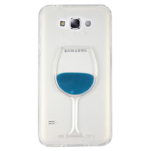 CoverZone Samsung Galaxy E7 Kılıf Silikon Kadeh Mavi