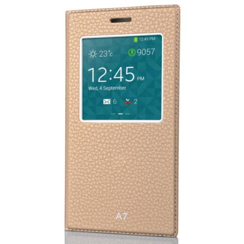 CoverZone Samsung Galaxy A7 Kılıf Pencere Ferdx Flip Kapaklı Gold