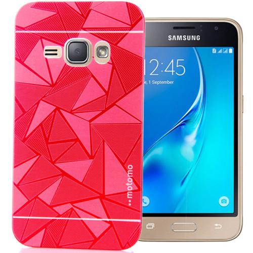 CoverZone Samsung Galaxy A7 Kılıf Metalik Sert Arka Kapak Prizma Desen Kırmızı