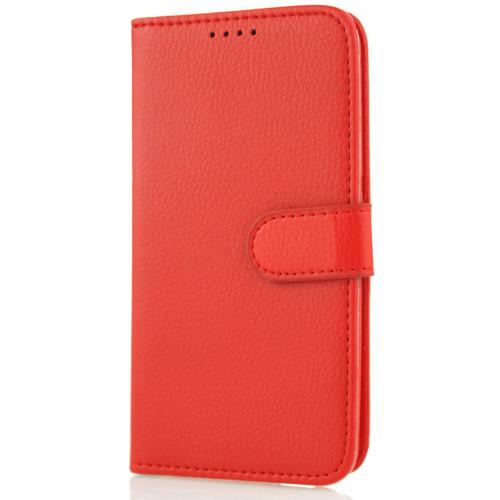 CoverZone Samsung Galaxy E7 Kılıf Kart Gözlü Cüzdan Kırmızı