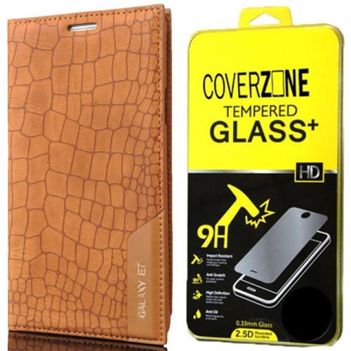 CoverZone Samsung Galaxy E7 Kılıf Kapaklı Rock Açık Kahverengi + Temperli Cam