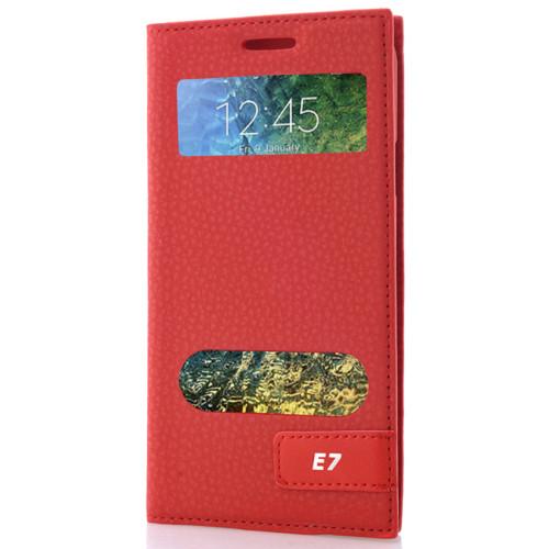 CoverZone Samsung Galaxy E7 Kılıf Pencereli Safir Kapaklı Kırmızı