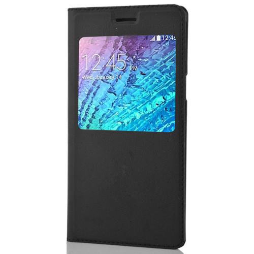 CoverZone Samsung Galaxy E5 Kılıf Flip Cover Siyah