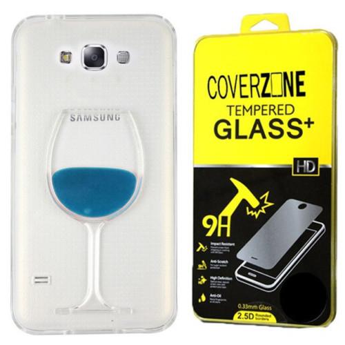 CoverZone Samsung Galaxy E7 Kılıf Silikon Kadeh Mavi + Temperli Cam