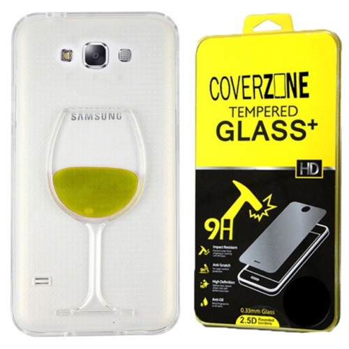 CoverZone Samsung Galaxy E7 Kılıf Silikon Kadeh Sarı + Temperli Cam