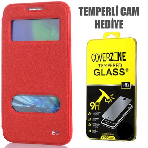 CoverZone Samsung Galaxy E5 Kılıf Çift Pencere Flip Kapaklı Kırmızı + Temperli Cam