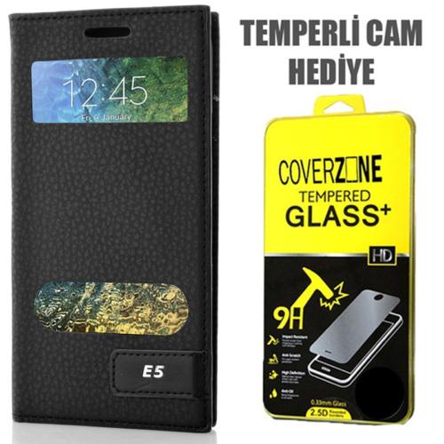 CoverZone Samsung Galaxy E5 Kılıf Kapaklı Safir Siyah + Temperli Cam