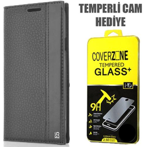 CoverZone Samsung Galaxy E5 Kılıf Kapaklı Magnum Siyah + Temperli Cam