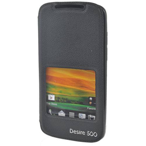 CoverZone HTC Desire 500 Kılıf Vantuzlu Pencereli Siyah