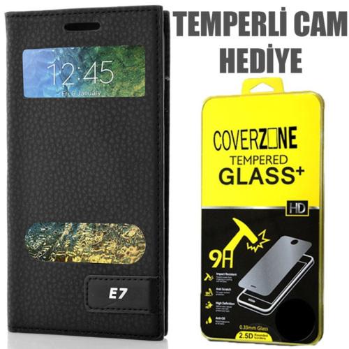 CoverZone Samsung Galaxy E7 Kılıf Pencereli Safir Kapaklı Siyah + Temperli Cam