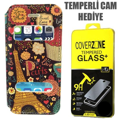 CoverZone Apple iPhone 5 5S Se Kılıf Pencereli Resimli Paris In Love + Temperli Cam