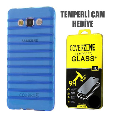 CoverZone Samsung Galaxy E7 Kılıf Çizgili Silikon Mavi + Temperli Cam