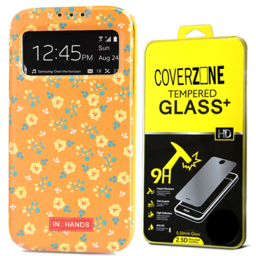 CoverZone Samsung Galaxy S4 Kılıf Kapaklı Pencereli Kumaji + Temperli Cam