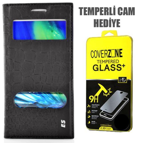 CoverZone Samsung Galaxy E5 Kılıf Çift Pencere Flip Rock Kapaklı Siyah + Temperli Cam