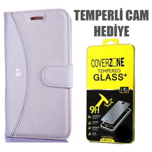 CoverZone Samsung Galaxy E7 Kılıf Delüks Cüzdan Beyaz + Temperli Cam