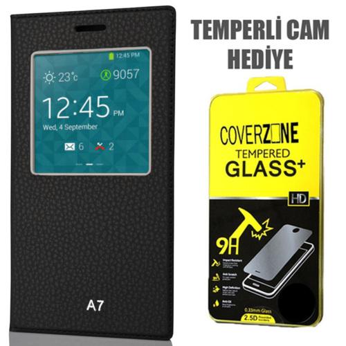 CoverZone Samsung Galaxy A7 Kılıf Pencere Ferdx Flip Kapaklı Siyah + Temperli Cam