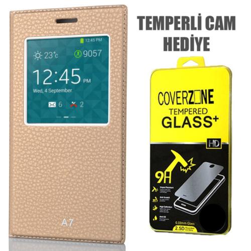 CoverZone Samsung Galaxy A7 Kılıf Pencere Ferdx Flip Kapaklı Gold + Temperli Cam