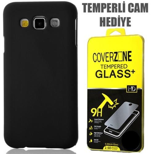 CoverZone Samsung Galaxy E7 Kılıf Rubber Sert Arka Kapak Siyah + Temperli Cam