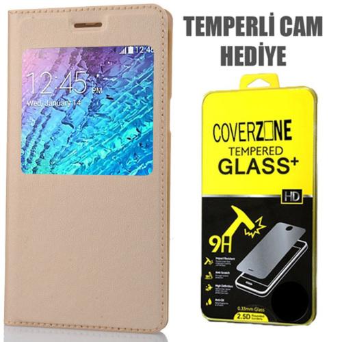 CoverZone Samsung Galaxy E5 Kılıf Flip Cover Gold + Temperli Cam