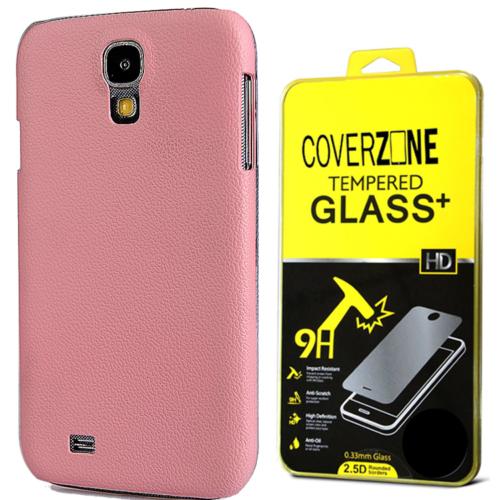 CoverZone Samsung Galaxy S4 Kılıf Deri Görünümlü Sert Arka Kapak Pembe + Temperli Cam