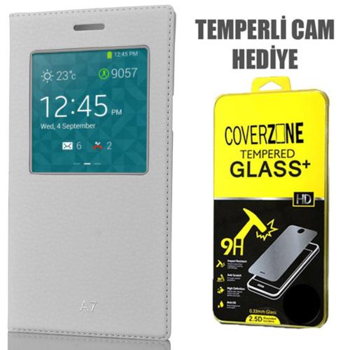 CoverZone Samsung Galaxy A7 Kılıf Pencere Ferdx Flip Kapaklı Beyaz + Temperli Cam
