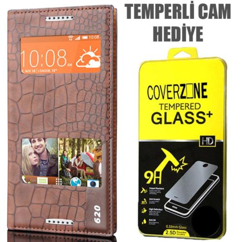 CoverZone HTC Desire 620 Kılıf Çift Pencereli Rock Kapaklı Kahverengi + Temperli Cam