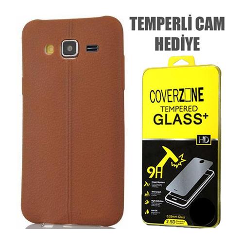 CoverZone Samsung Galaxy A7 Kılıf Silikon Deri Görünümlü Kahverengi + Temperli Cam