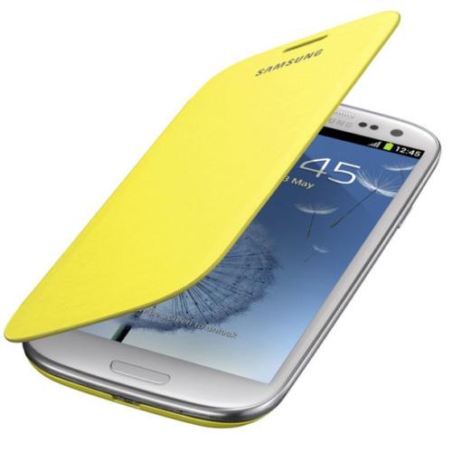 CoverZone Samsung Galaxy S4 Mini Kılıf Kapaklı Flip Cover Sarı