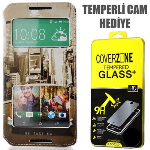 CoverZone HTC Desire 816 Kılıf Cüzdan Kapaklı Resimli Pencereli New York Taxi + Temperli Cam