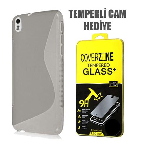 CoverZone HTC Desire 816 Kılıf Silikon S-Line Şeffaf + Temperli Cam