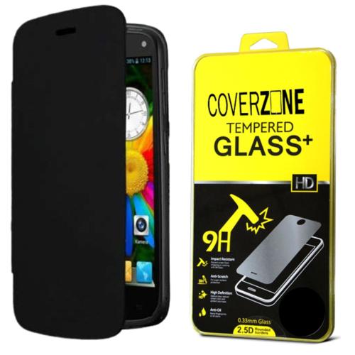 CoverZone General Mobile Discovery Kılıf Flip Cover Siyah + Temperli Cam