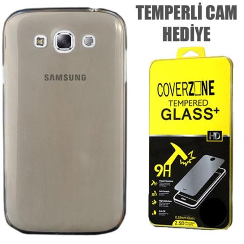 CoverZone Samsung Galaxy E5 Kılıf 0.3mm İnce Silikon Antrasit + Temperli Cam