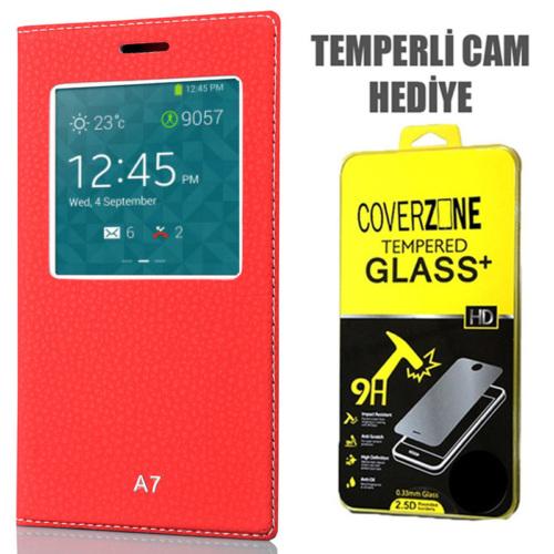 CoverZone Samsung Galaxy A7 Kılıf Pencere Ferdx Flip Kapaklı Kırmızı + Temperli Cam